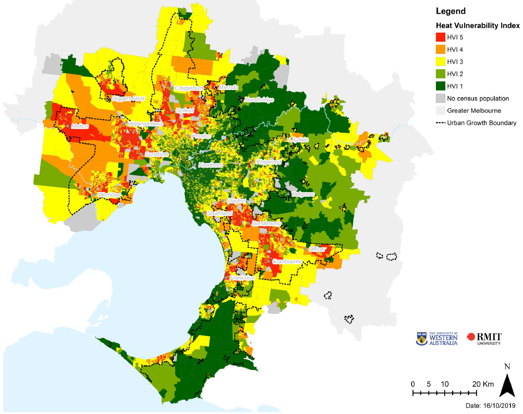 Map showing the distribution of the 2018 heat vulnerability index across metropolitan Melbourne