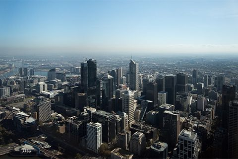 Image taken from Eureka Tower in Melbourne, showcases varying sizes of buildings within the CBD.