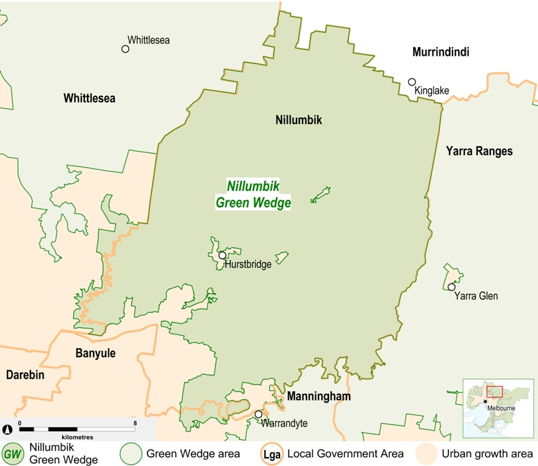 map of the Nillumbik Green Wedge area