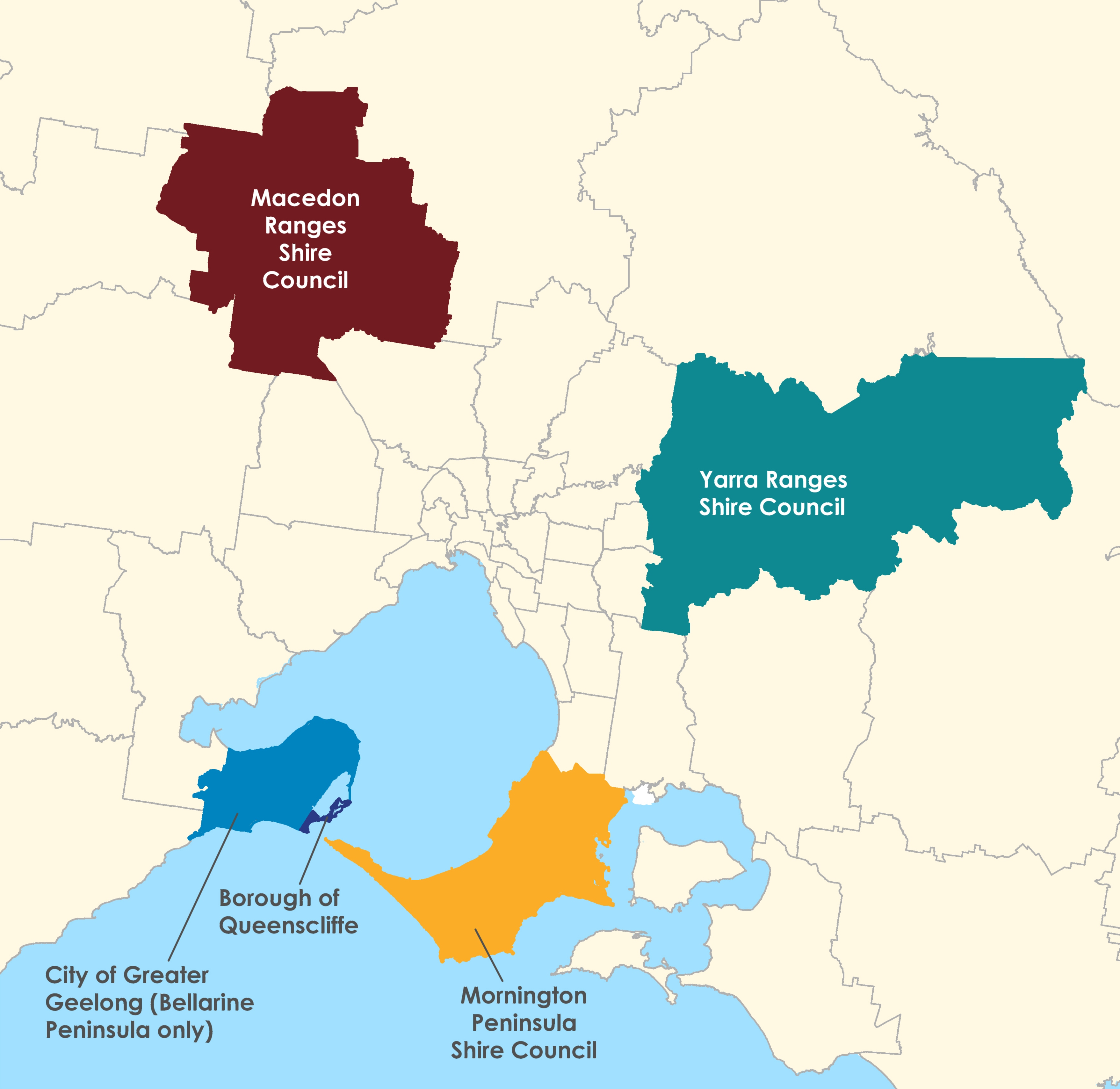Map showing the location of areas where localised planning statements have been prepared