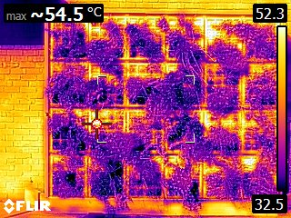 A thermal image showing the temperature of the green wall on 16 April 2019