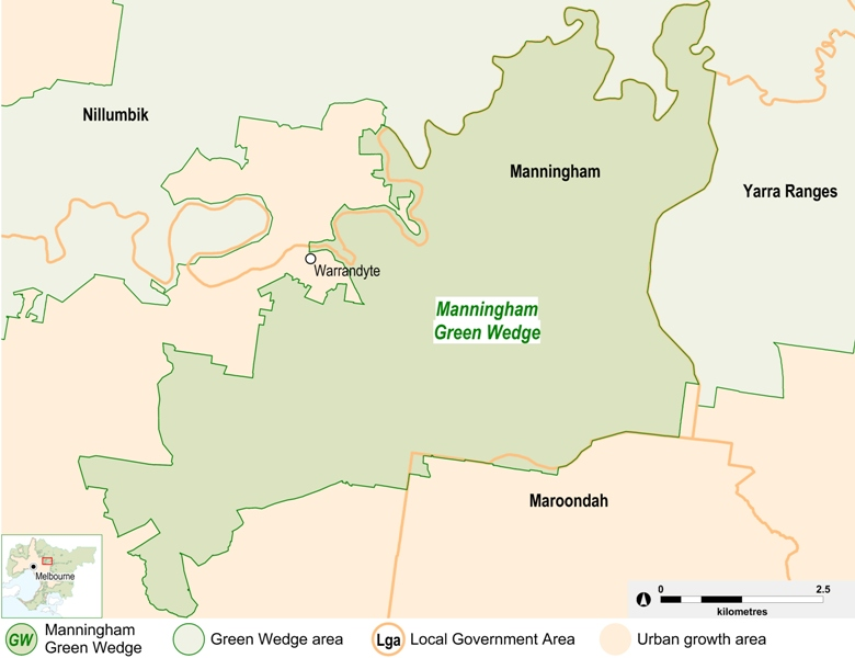 map of the Manningham Green Wedge area