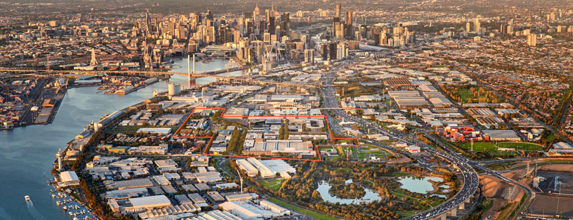 aerial view of fishermans bend