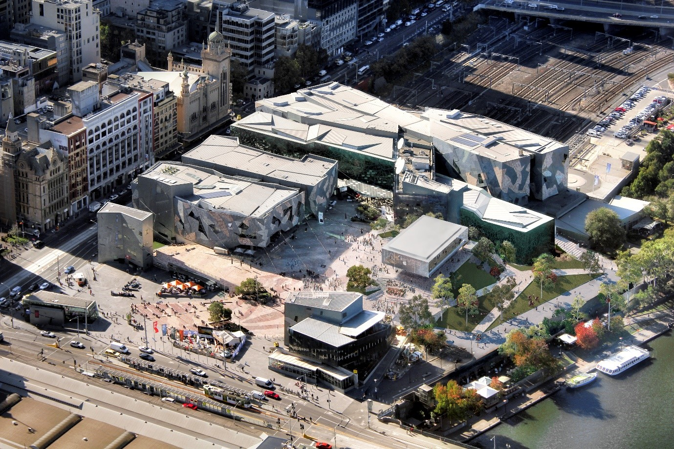Aerial view of Fed Square showing the Apple Flagship Store