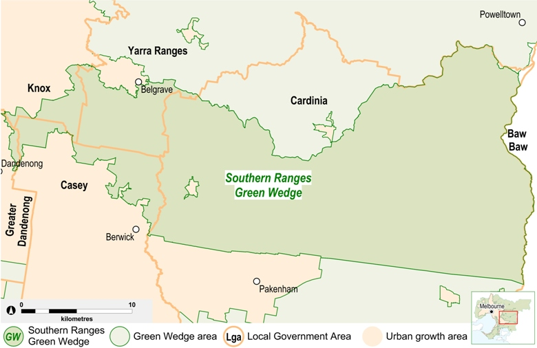 map of the Southern Ranges green wedge area