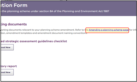 new link to Amending Planning Scheme