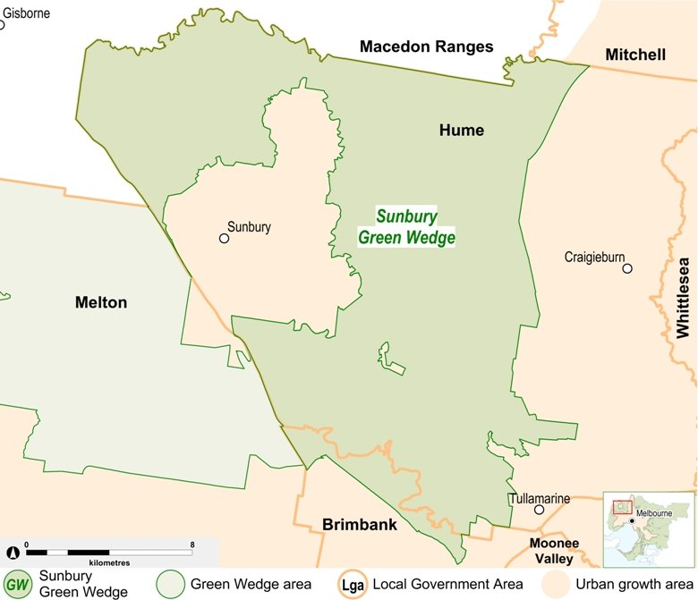 map of the Sunbury Green Wedge area