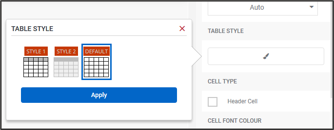 Select default table style option