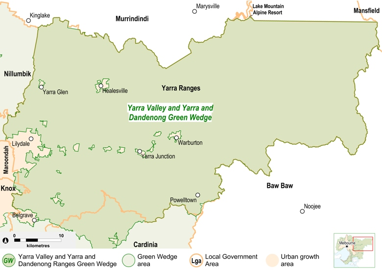 Map of the Yarra Valley and Yarra and Dandenong Ranges Green Wedge area