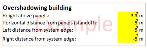 Image of example of figure included in calculator tool for details of overshadowing building