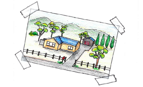 Drawing of a house in a rural setting with fence, drive, garage and trees