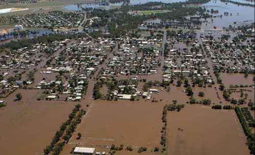 Image of town surrounded by floodwaters