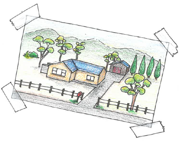 Drawing showing a house with driveway and shed in a rural setting with some trees and hills behind