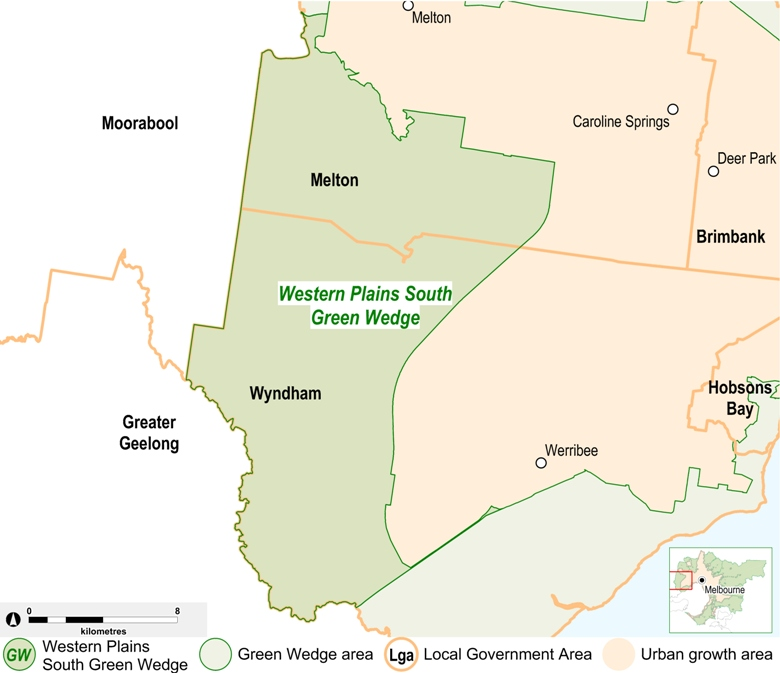 map of the Western Plains South Green Wedge area