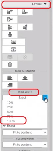 Table formatting