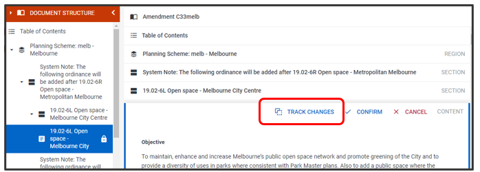 New Track changes feature